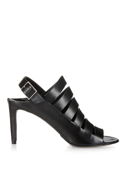 Balenciaga Strappy Leather Open Toe Slingbacks In Black Leather
