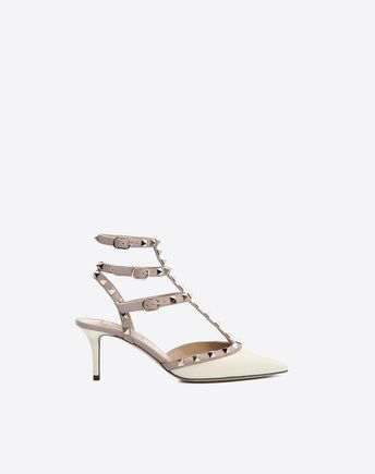 f0114b84423 Rockstud Patent-Leather Ankle Strap Pump 65Mm in White