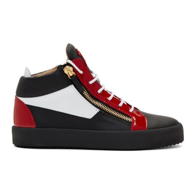 1eba0d584e8 GIUSEPPE ZANOTTI. Giuseppe Zanotti Black And Red May London High-Top  Sneakers ...