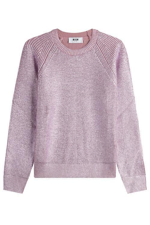 Msgm Metallic Wool Pullover In Purple