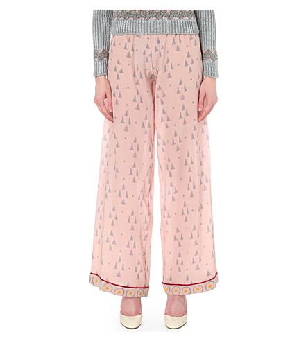 Valentino Geometric-print Wide-leg Silk-crepe Trousers In Multicolored