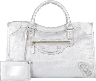 Balenciaga Metallic Edge City Bag, White In Ivoire Edi