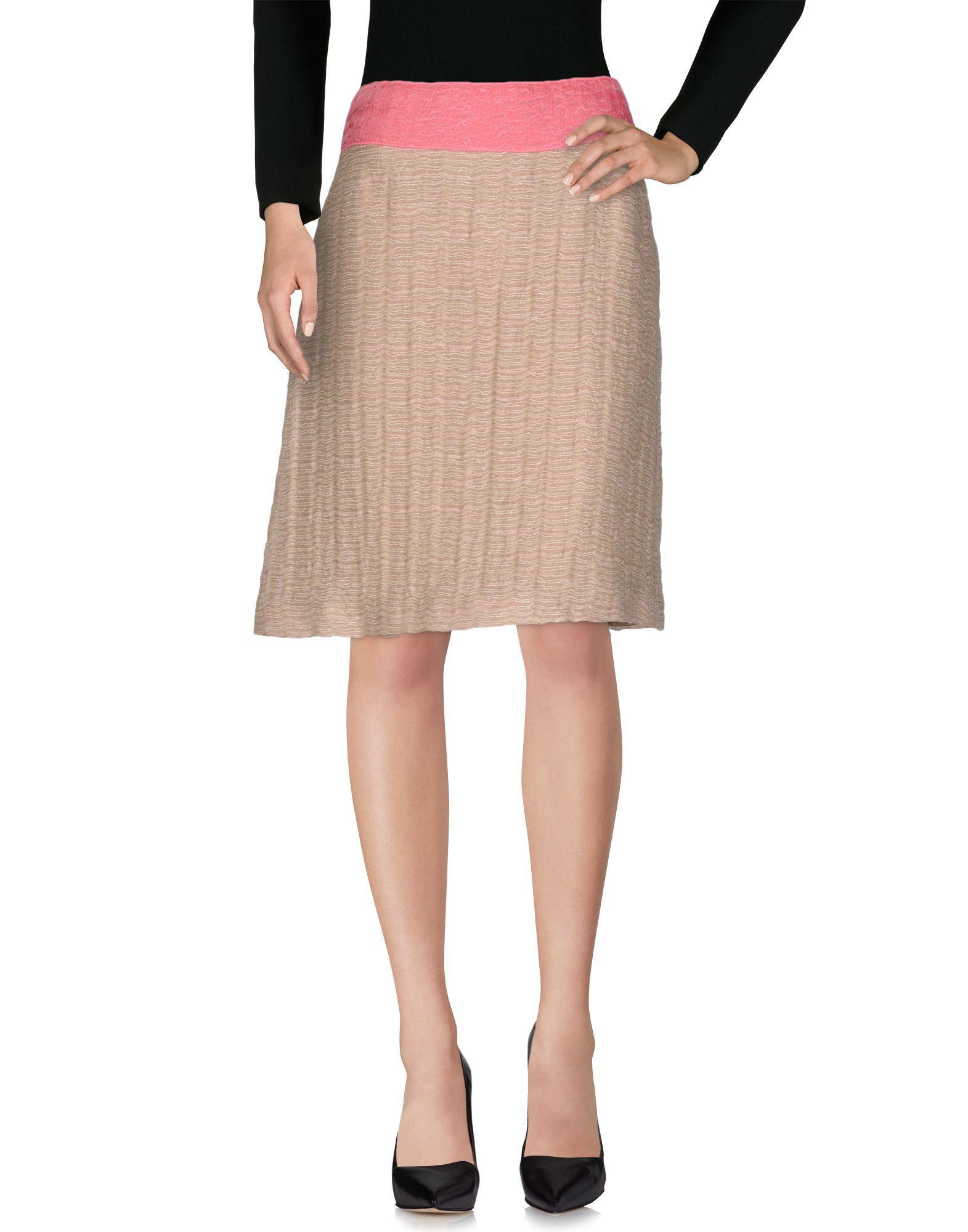 Miu Miu Knee Length Skirt In Pale Pink
