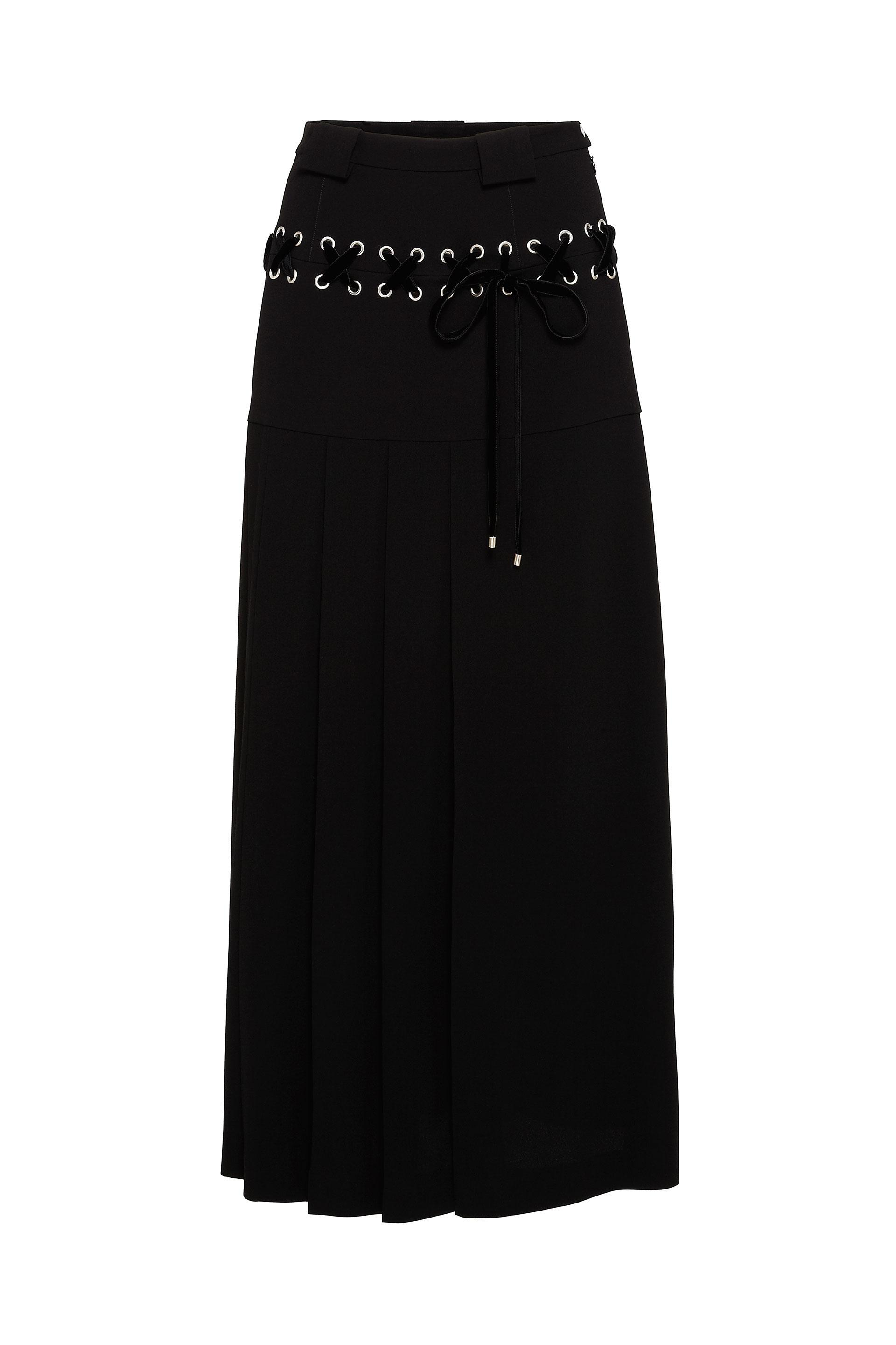Marc By Marc Jacobs Charlie Double Face CrÊpe Long Seamed Skirt In Black Multi
