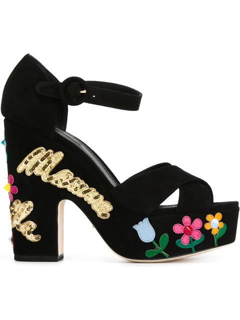 Dolce & Gabbana 130Mm Bianca Mamma Bella Suede Sandals, Black