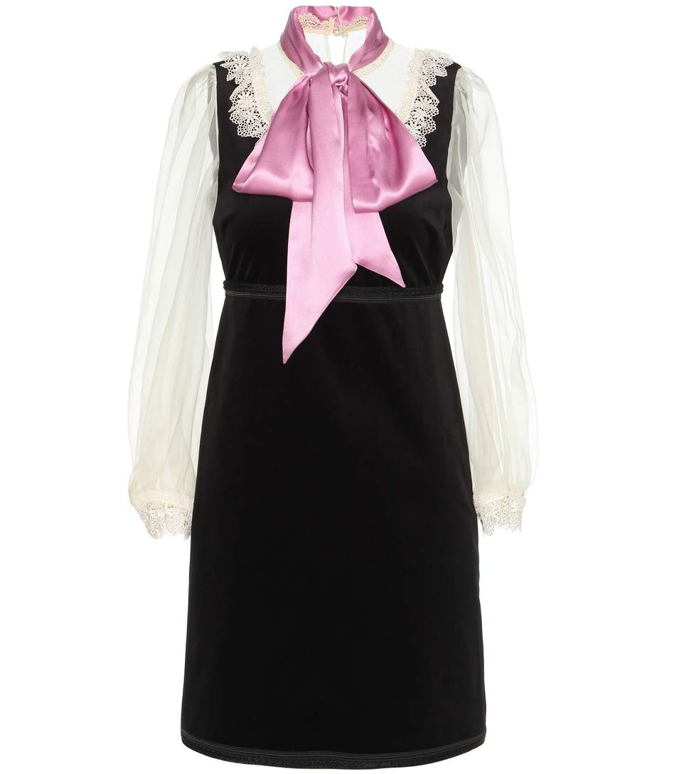 Gucci Macrame Lace-trimmed Velvet And Silk Dress In Llk