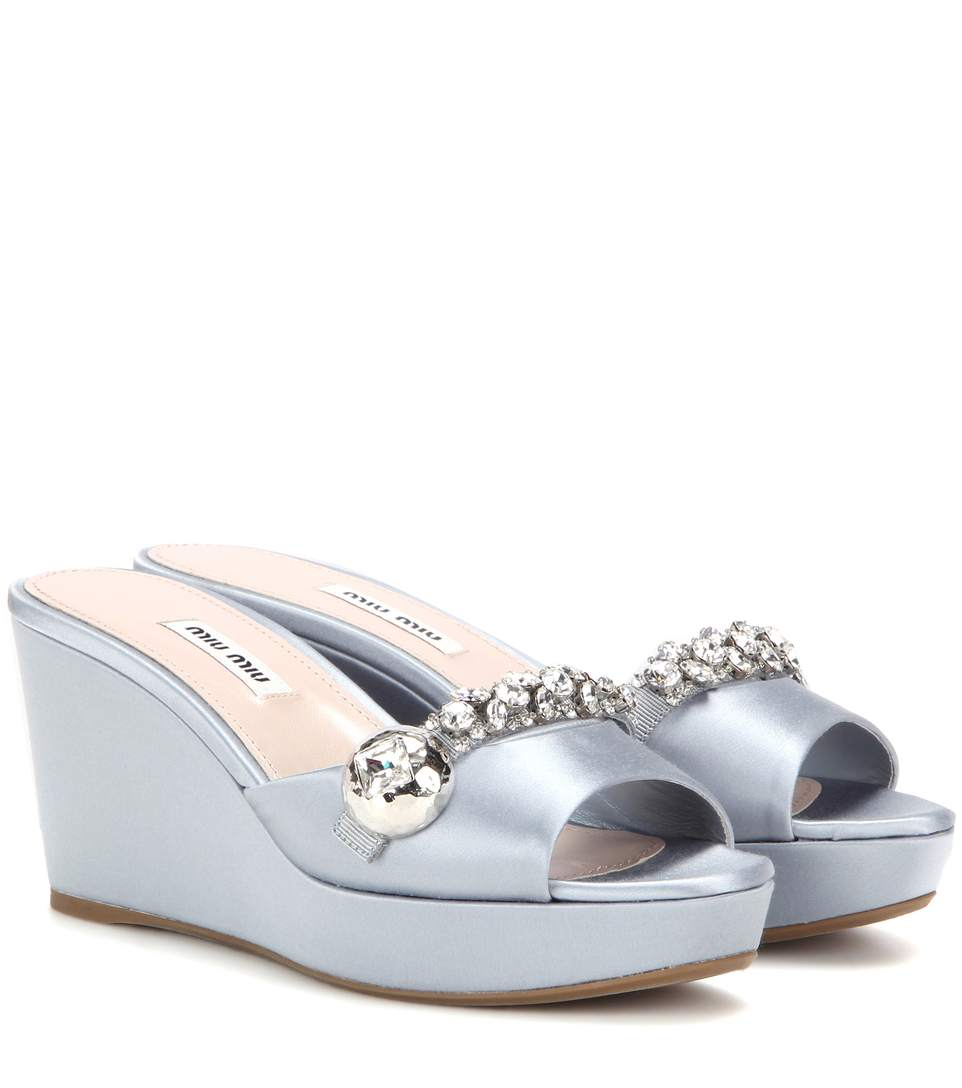 Miu Miu Satin Wedge Sandals With Crystal Embellishments In Astro