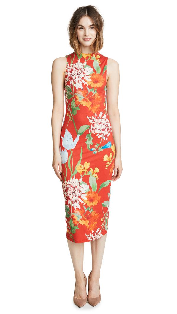 Alice And Olivia Delora Mock-Neck Fitted Sleeveless Sheath Dress In Greenwich Garden Poppy