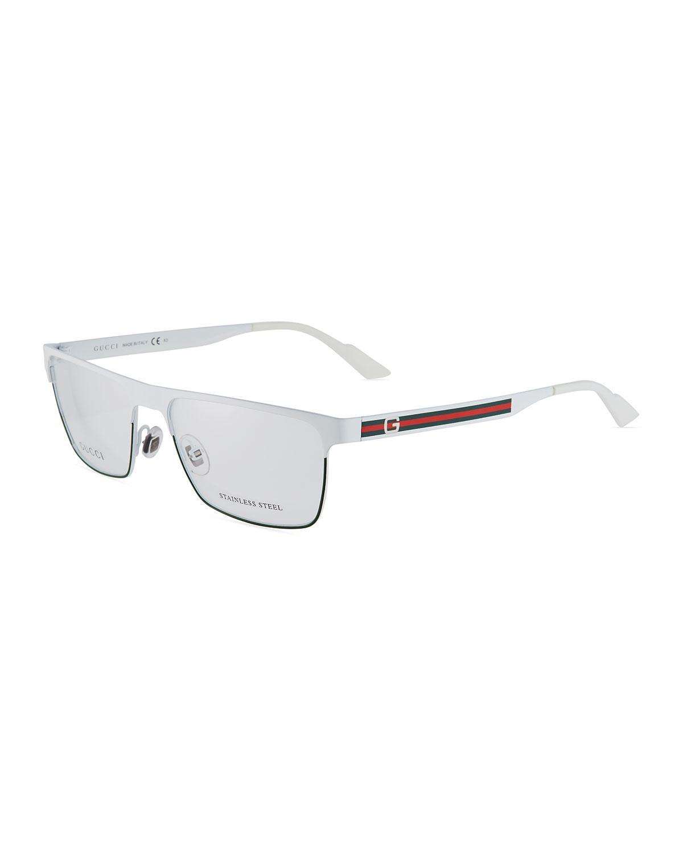 5903de220de Gucci Men s Rectangle Stainless Steel Optical Glasses