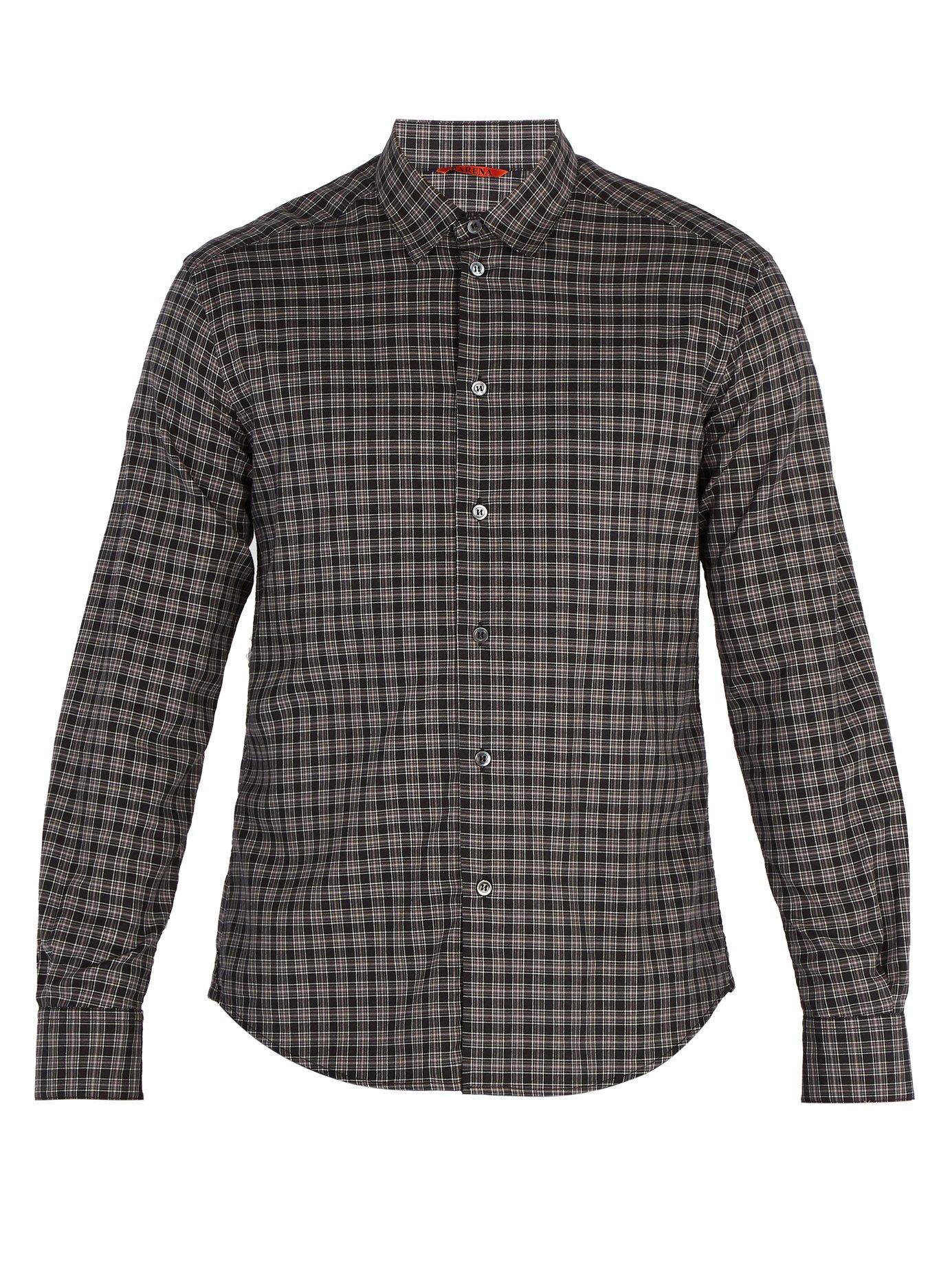 Barena Venezia Point-Collar Checked Cotton Shirt In Black