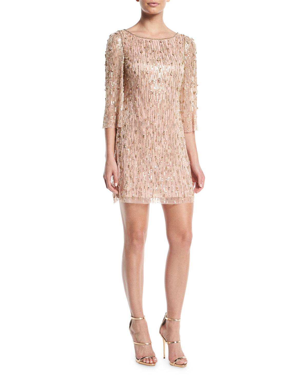 Jenny Packham Elbow-Sleeve Straight Beaded Mini Cocktail Dress In Light Pink