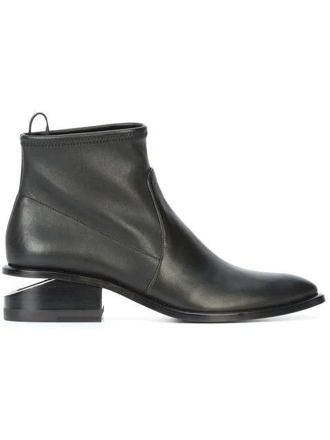 Alexander Wang Kori 40 Black Stretch-Leather Ankle Boots