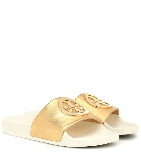 fcc61d8e9cee Tory Burch Lina Metallic Leather Pool Slide Sandals In Gold