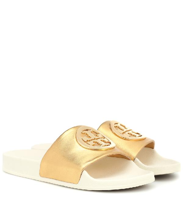3f1ec47246ef Tory Burch Lina Metallic Leather Pool Slide Sandals In Gold