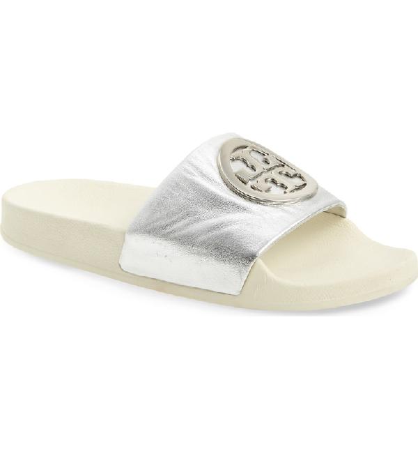 34f83ae8b9e9 Tory Burch Lina Metallic Leather Pool Slide Sandals In Silver