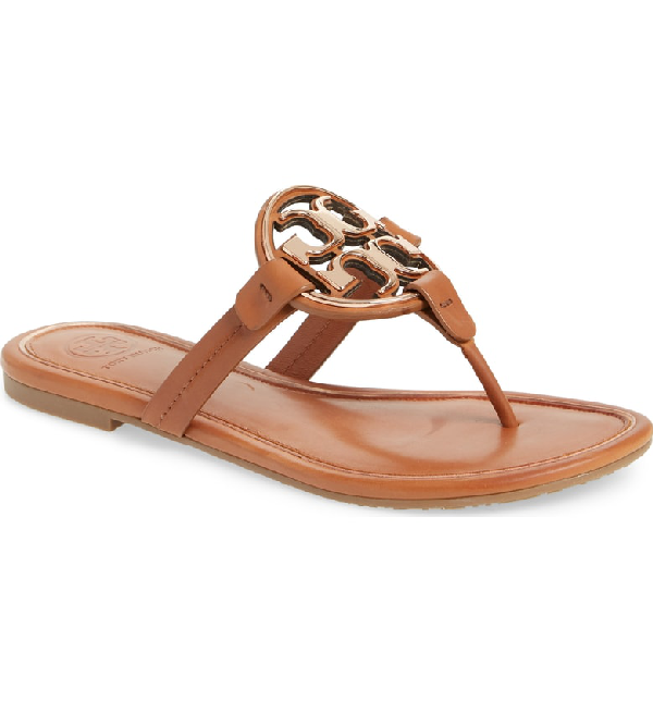 bac08bc3c524 Tory Burch Women s Metal Miller Leather Thong Sandals In Tan  Rose ...