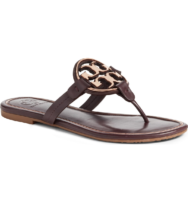 77aa1f41f95dc3 Tory Burch Miller Flat Metal Logo Slide Sandals In Malbec   Rose G ...
