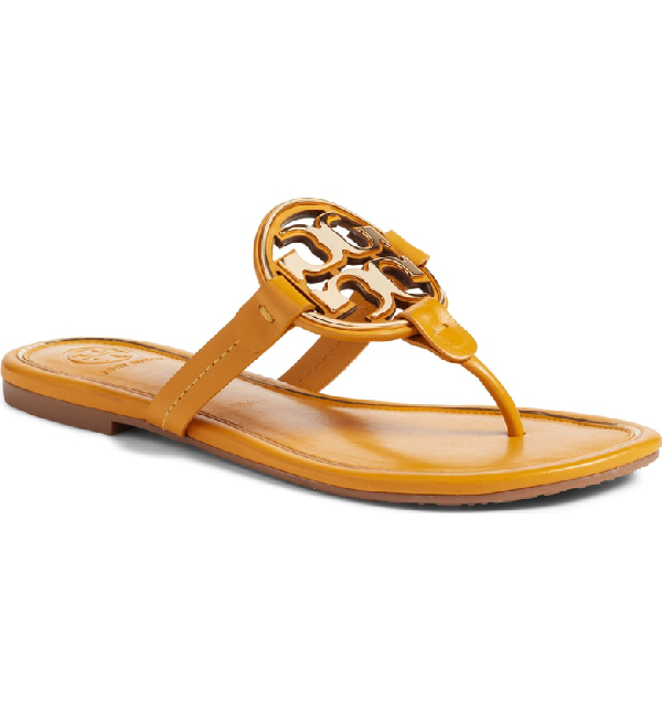 a25a7f0b536 Tory Burch Women s Metal Miller Leather Thong Sandals In Golden Rod ...