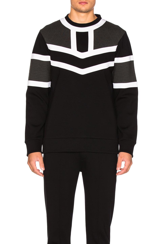Neil Barrett Round Collar Sweatshirt In Black, Charcoal & Off White