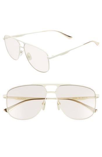 e4d26f0cff Gucci 80S Monocolor 60Mm Aviator Sunglasses - Shiny Solid Ivory ...