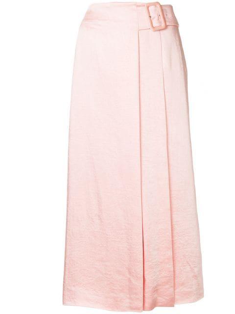af58ad254e03 Rejina Pyo Ellis Belted Satin Wrap Skirt In Pink