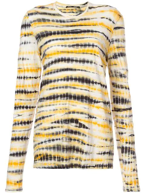 Proenza Schouler Tie Dye Long Sleeve Jersey Tissue Top In Yellow