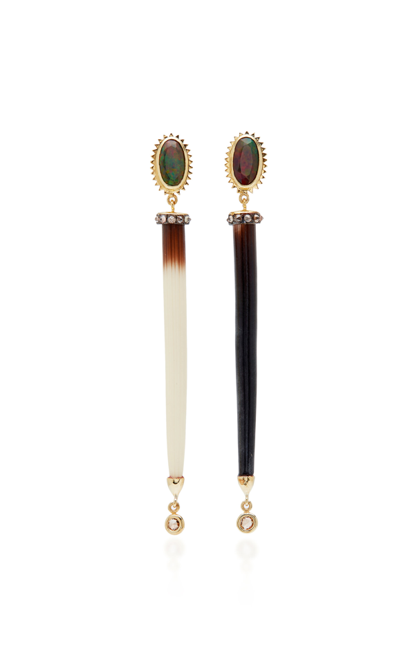 Daniela Villegas Porcupine 18k Rose Gold Enamel Earrings In Brown