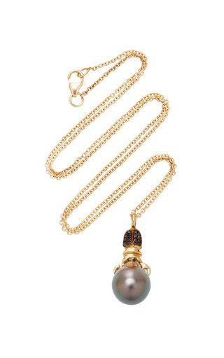 Daniela Villegas Khepri 18k Rose Gold Garnet And Pearl Necklace In Black