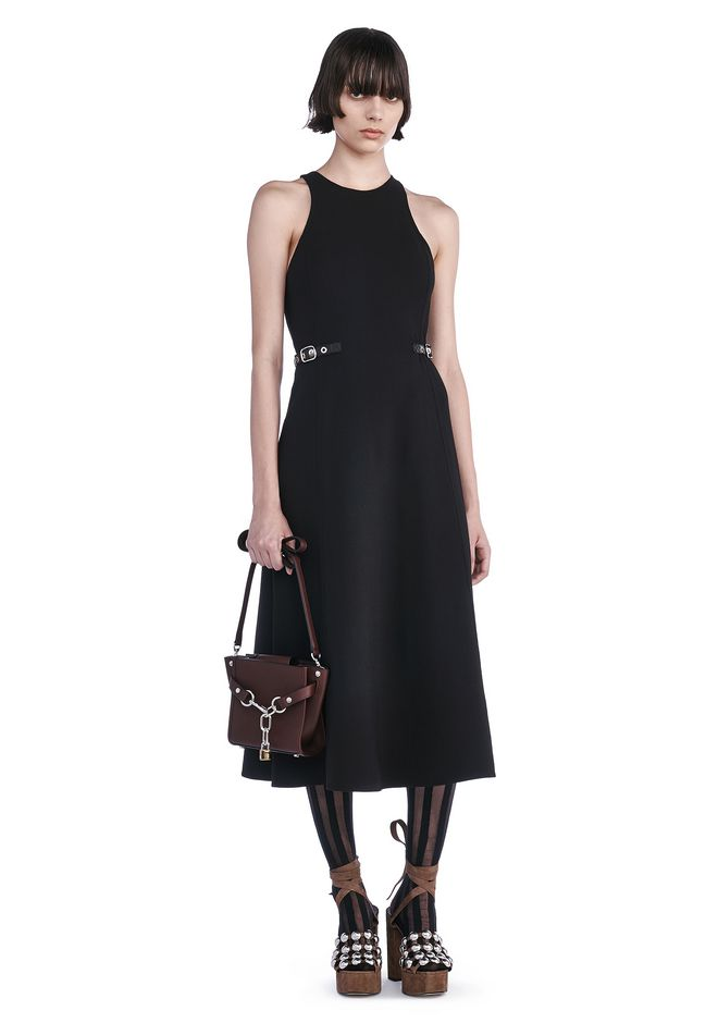 Alexander Wang A-line Racer Back Dress With Waist Tabs In Black