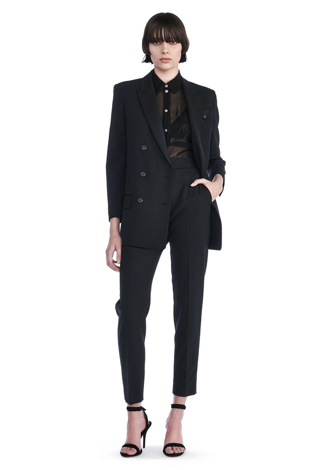 Alexander Wang Double Breasted Blazer With Cropped Sleeves