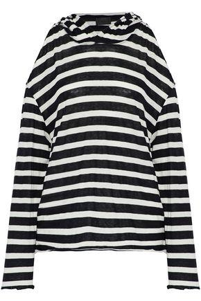 Rta Woman Cold-shoulder Striped Cotton And Cashmere-blend Hooded Top Black