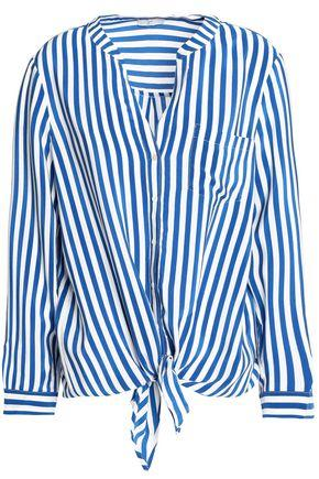 Joie Woman Edaline Knotted Striped Silk Shirt Blue