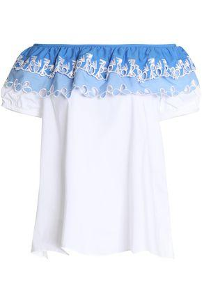 Peter Pilotto Woman Off-the-shoulder Embroidered Cotton-poplin Top White
