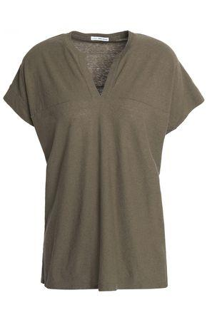 James Perse Woman Cotton And Linen-blend Slub Jersey Top Army Green
