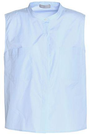 Vince Woman Cotton-poplin Shirt Azure