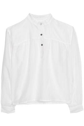 Etoile Isabel Marant Woman Laper Gathered Cotton And Silk-blend Voile Blouse White