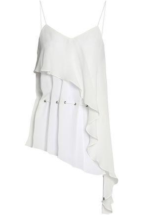 Haute Hippie Woman Faye Asymmetric Ruffled Silk Crepe De Chine Top White
