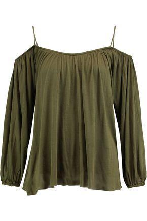 Bailey44 Woman Boho Cold-shoulder Modal Top Army Green