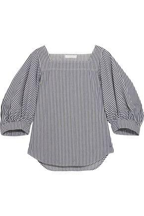 ChloÉ Woman Striped Denim Top Light Denim