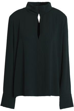 By Malene Birger Woman Wrap-effect Cutout Crepe Blouse Dark Green
