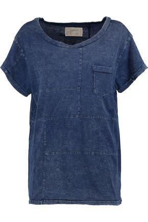 Current Elliott Woman Distressed Cotton T-shirt Indigo