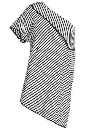 Diane Von Furstenberg Woman One-shoulder Striped Silk Crepe De Chine Top Off-white