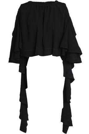 Ellery Woman Cold-shoulder Ruffled Crepe-satin Top Black