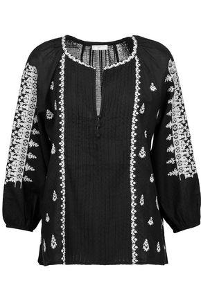 Joie Woman Ingelise Embroidered Cotton-blend Blouse Black