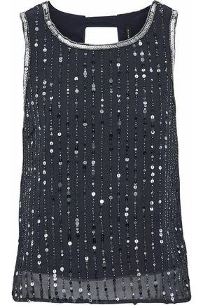 W118 By Walter Baker Woman Open-back Bead And Sequin-embellished Georgette Top Navy