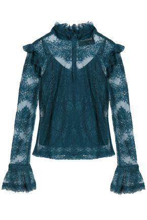 Nicholas Ruffle-trimmed Cotton-blend Lace Blouse In Teal