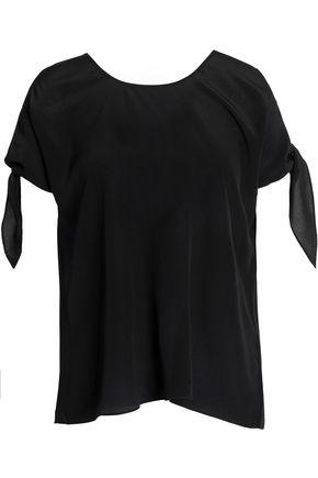 Bailey44 Cold-shoulder Knotted Silk Blouse In Black