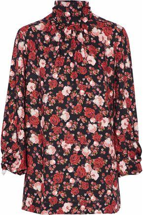 Mother Of Pearl Woman Gathered Floral-print Twill Turtleneck Top Crimson