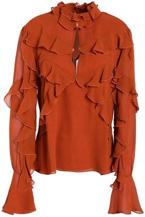 Nicholas Cutout Ruffled Silk-chiffon Blouse In Orange