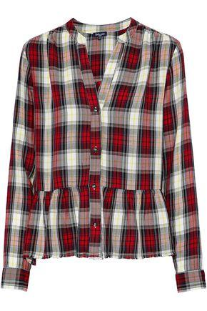 Splendid Woman Checked Flannel Peplum Shirt Red